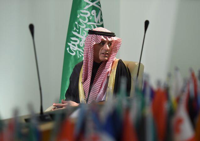 O chanceler saudita, Adel al-Jubeir, foi filmado durante a entrevista que concedeu à agência AFP em 16 de fevereiro de 2016