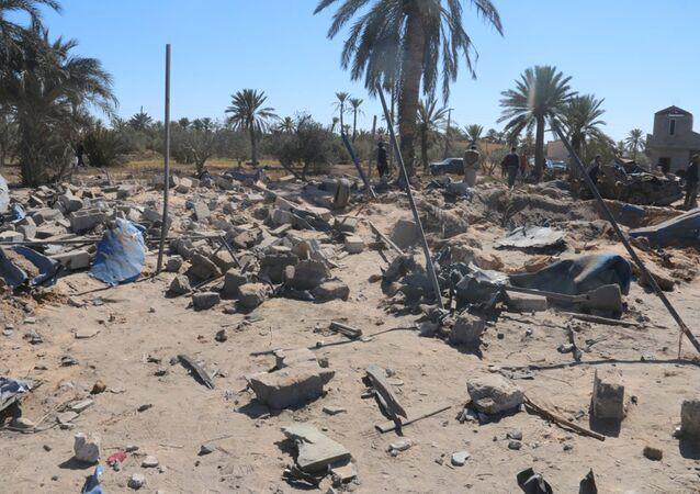 O local dos bombardeamentos americanos contra o Daesh em Sabratha, Líbia, 19 de fevereiro