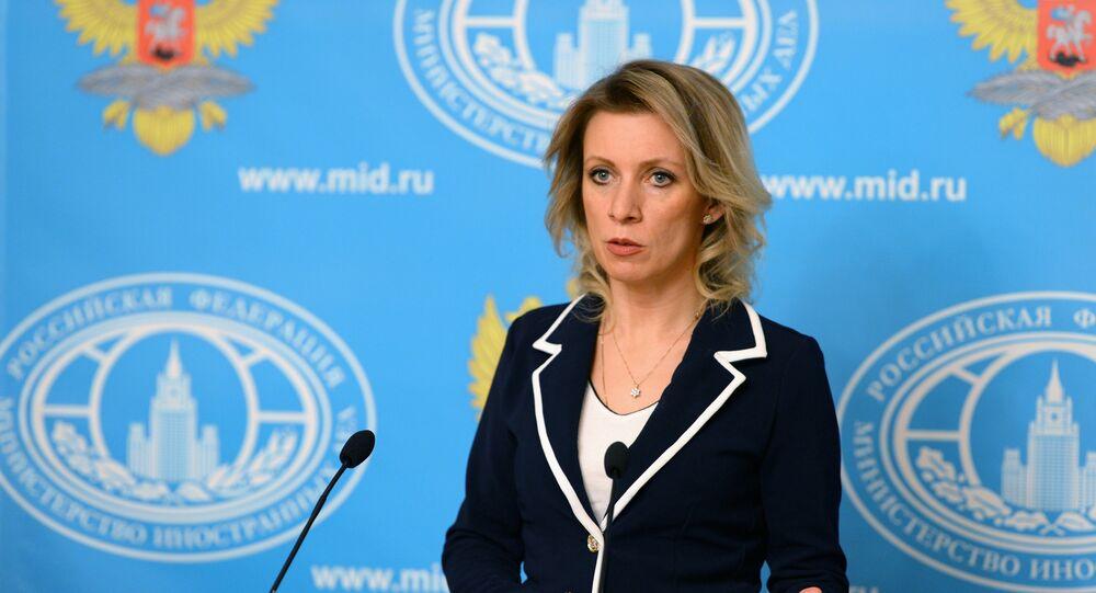 Representante oficial do Ministério das Relações Exteriores russo, Maria Zakharova, durante a entrevista coletiva semanal, Moscou, Rússia, 25 de fevereiro de 2016