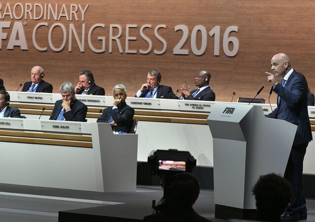 Gianni Infantino fala em congresso extraordinário da FIFA, em Zurique