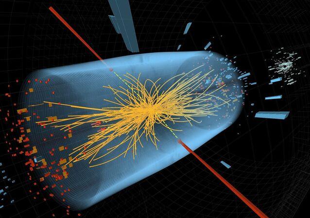 Colisão de prótons no acelerador de partículas do Centro Europeu de Pesquisas Nucleares (Cern).