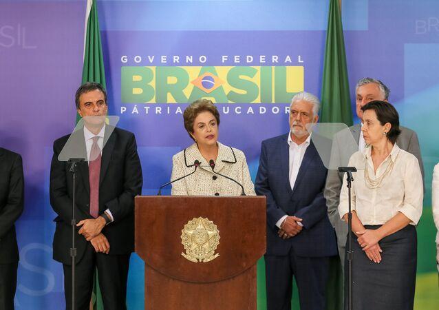 Presidenta Dilma Rousseff durante pronunciamento no Palácio do Planalto nesta sexta-feira, 4 de março