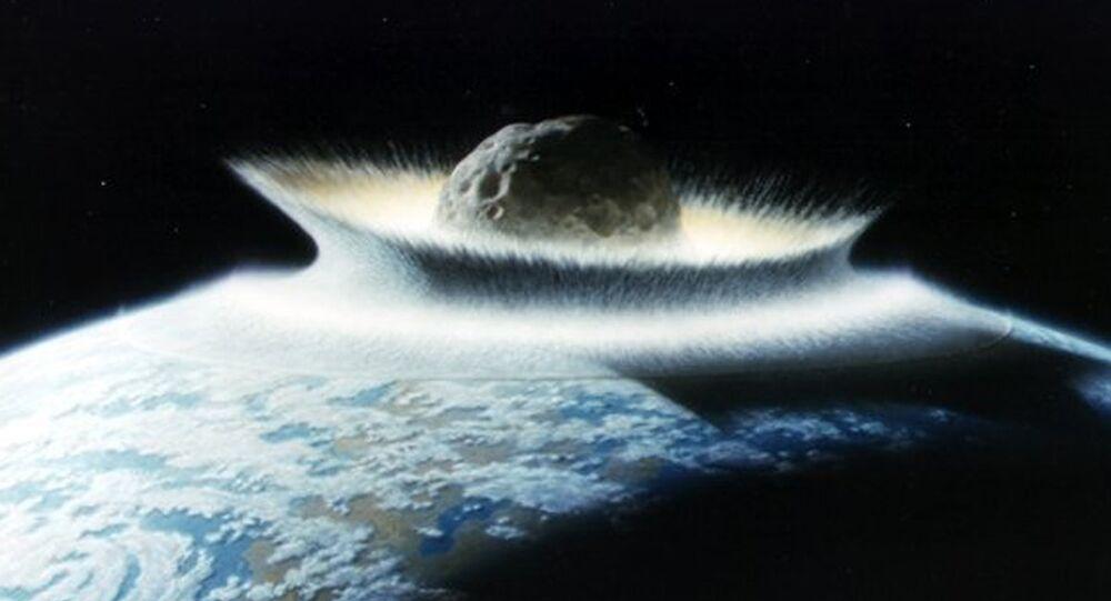 Ilustração do asteroide que extinguiu dinossauros