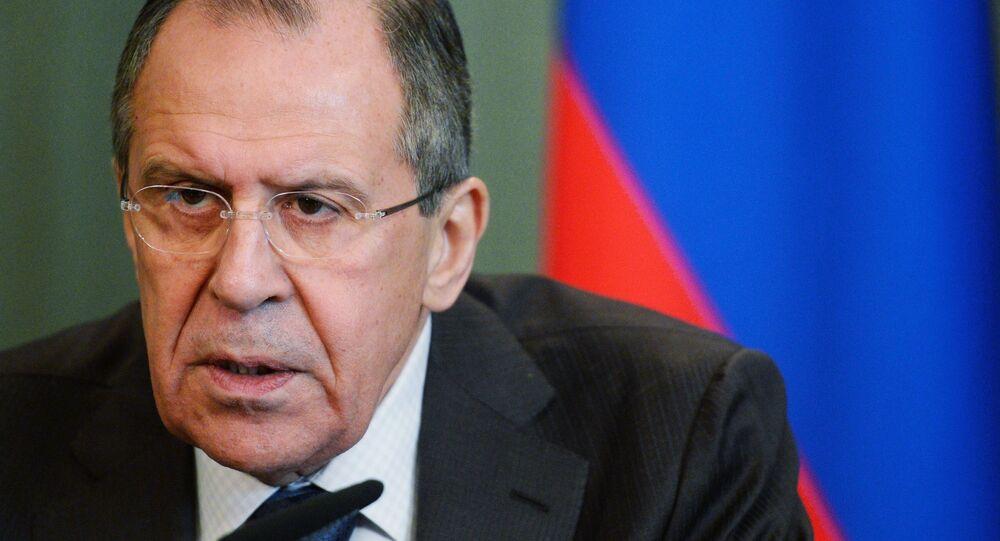 O chanceler russo, Sergei Lavrov, durante uma coletiva em fevereiro de 2016