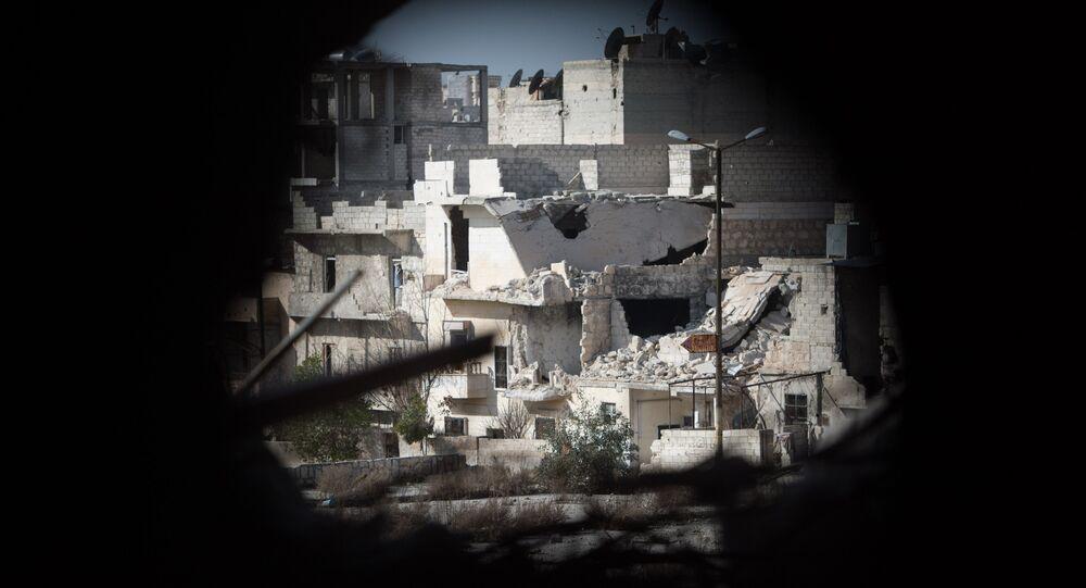 Bairro residencial na cidade síria de Aleppo, Síria, 18 de fevereiro de 2016