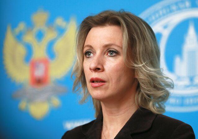 Representante oficial do Ministério das Relações Exteriores russo, Maria Zakharova, durante a entrevista coletiva semanal, Moscou, Rússia, 11 de março de 2016