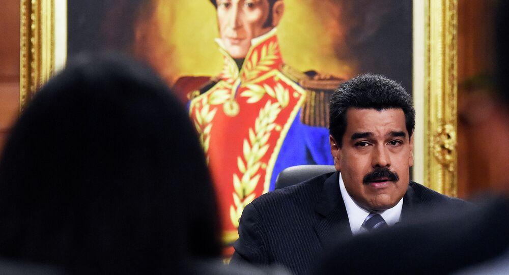 Presidente da Venezuela, Nicolás Maduro, no palácio presidencial de Miraflores, em Caracas
