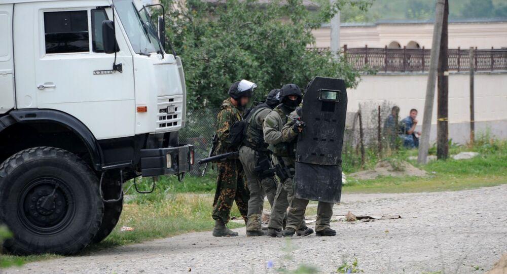 Policiais russos da unidade antiterrorista