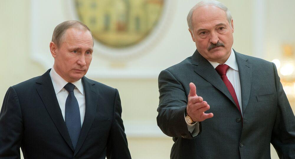 Presidente russo Vladimir Putin e o presidente bielorrusso Aleksandr Lukashenko durante a reunião do Supremo Conselho de Estado da União da Rússia e Bielorrússia, Minsk, Bielorrússia (foto do arquivo)