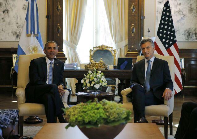 O presidente dos EUA, Barack Obama, e o presidente da Argentina, Mauricio Macri