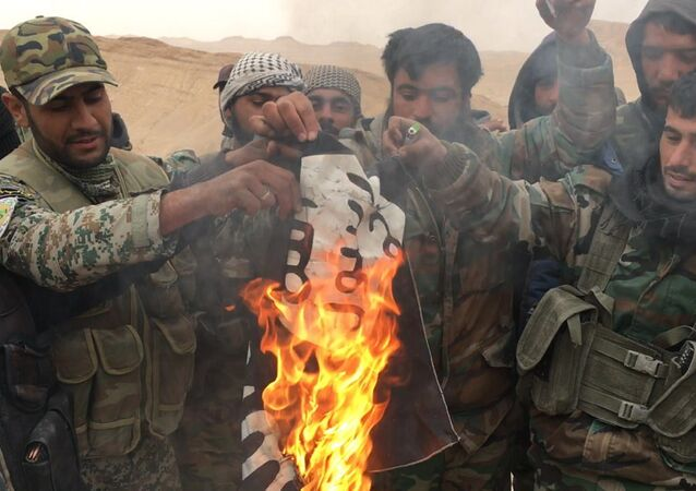 Os militares sírios queimam a bandeira do Daesh, retirada do Castelo de Palmira