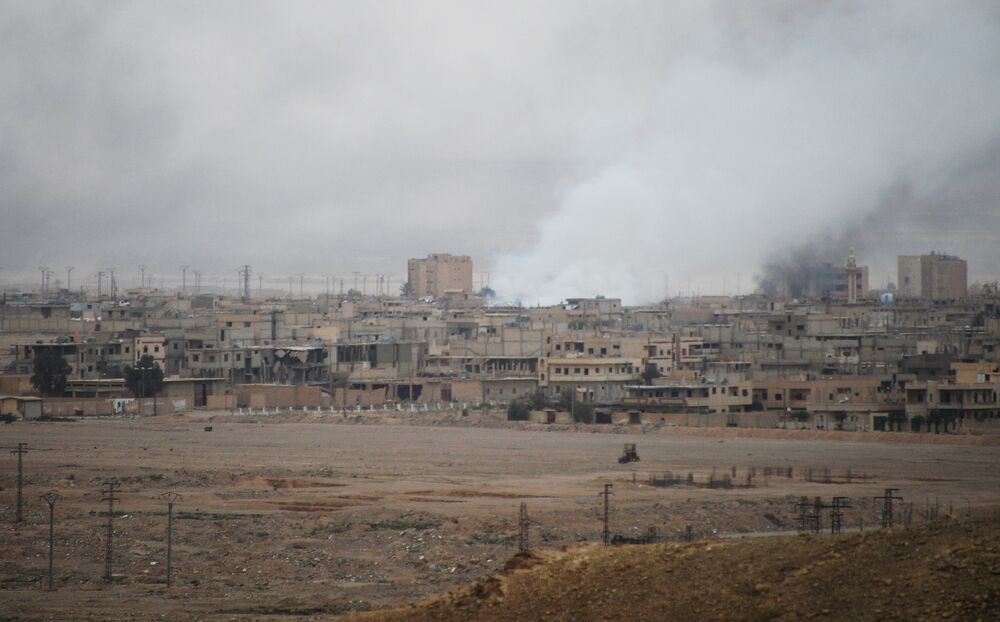 Centro de Palmira, ainda afetado por combates no domingo, 27 de março