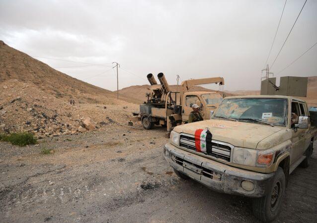 Exército Árabe Sírio e o destacamento da milícia popular Falcões do Deserto na entrada de Palmira