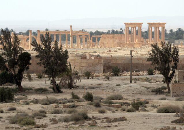 Parte histórica de Palmira destruída pelos terroristas do Daesh, Síria, 27 de março de 2016
