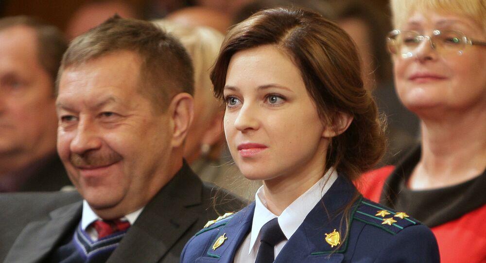 Poklonskaya numa reunião do Conselho de Estado da Criméia