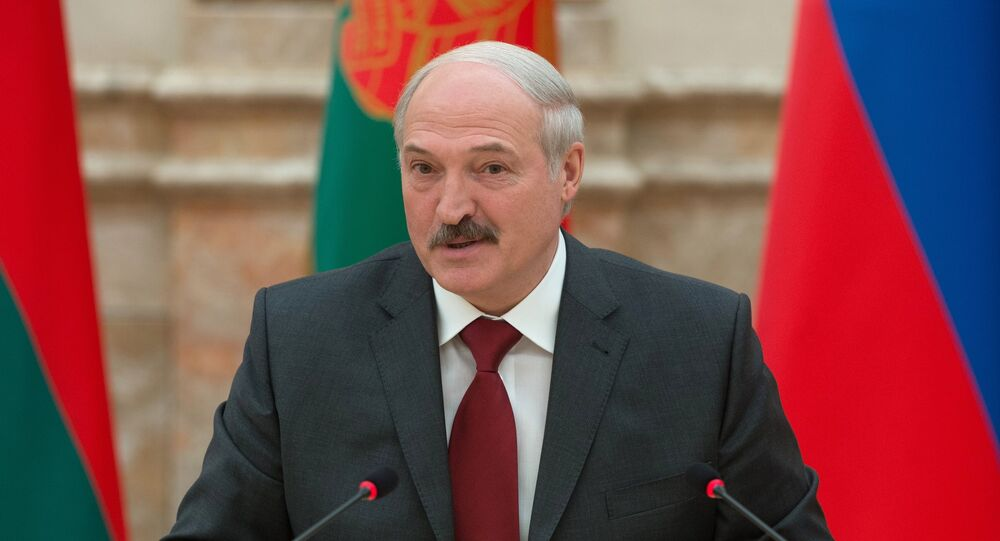 Presidente bielorrusso Aleksandr Lukashenko durante a reunião do Supremo Conselho de Estado da União da Rússia e Bielorrússia, Minsk, Bielorrússia, 25 de fevereiro de 2016
