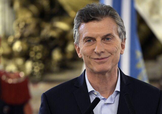 Presidente argentino Maurício Macri profere discurso na Casa Rosada depois de procurador federal da república entrar com um pedido de investigação da sua participação na offshore bahamense