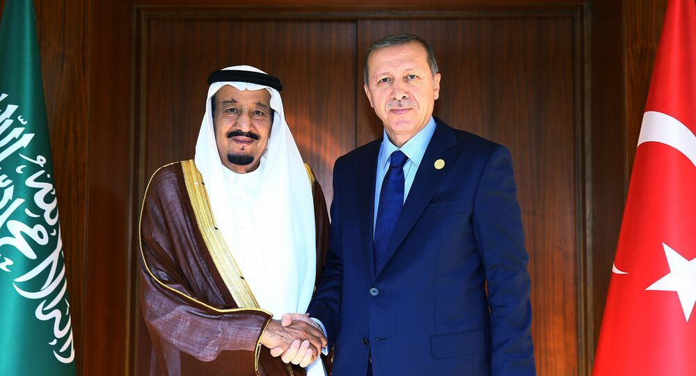 Presidente da Turquia, Recep Tayyip Erdogan, e rei da Arábia Saudita, Salman bin Abdul Aziz Al Saud