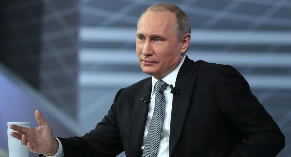 Presidente russo, Vladimir Putin, em 14 de abril de 2016