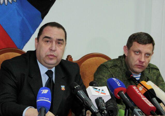 Líderes das autoproclamadas Repúblicas Populares de Donetsk e Lugansk, Aleksandr Zakharchenko e Igor Plotnitsky