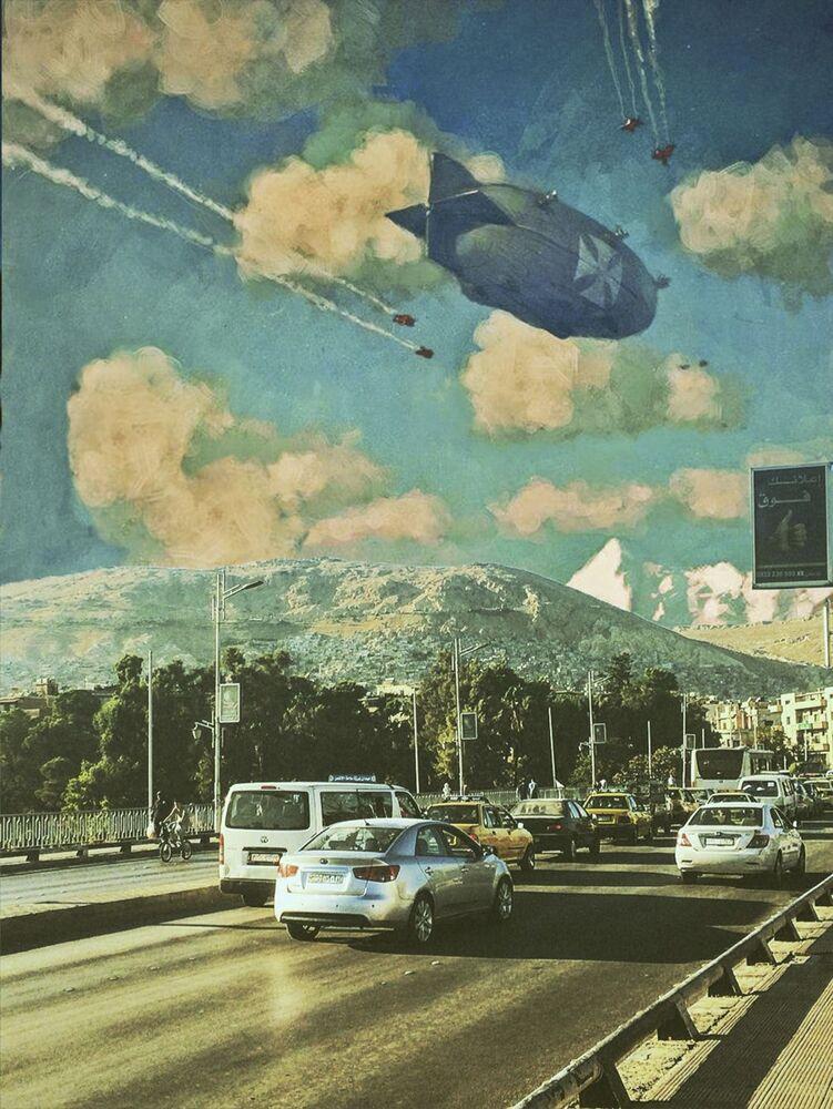 Invasão alienígena: artista surrealista representa devastação de Damasco