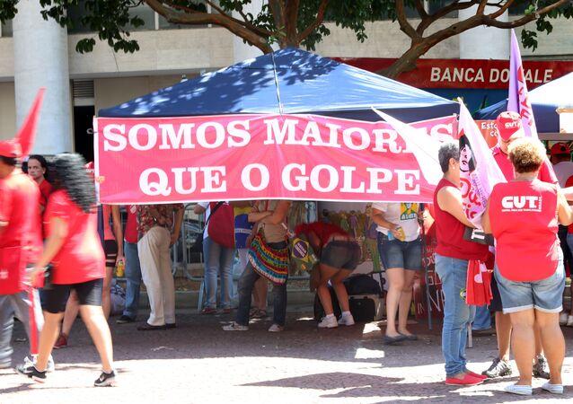 Ato dos Movimentos Sociais em Defesa da Democracia, no Vale do Anhangabaú, em São Paulo