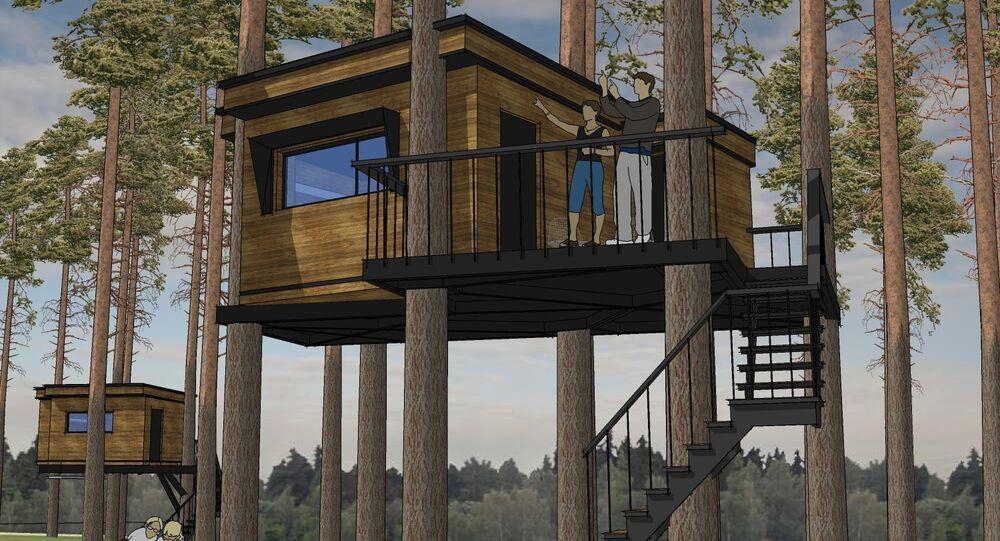 Projeto de casa na ecoaldeia Nest Hotel (ilustração)