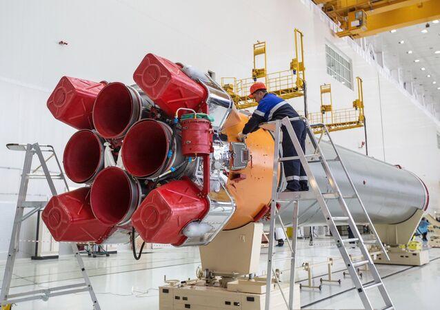 Foguete Soyuz antes do lançamento