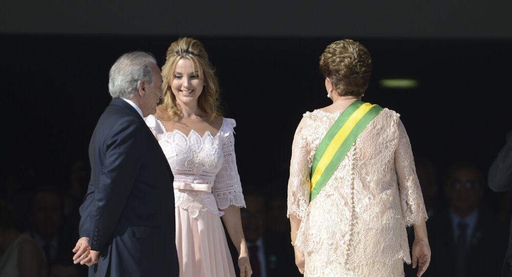 Michel e Marcela Temer na cerimônia de posse da presidenta Dilma Rousseff