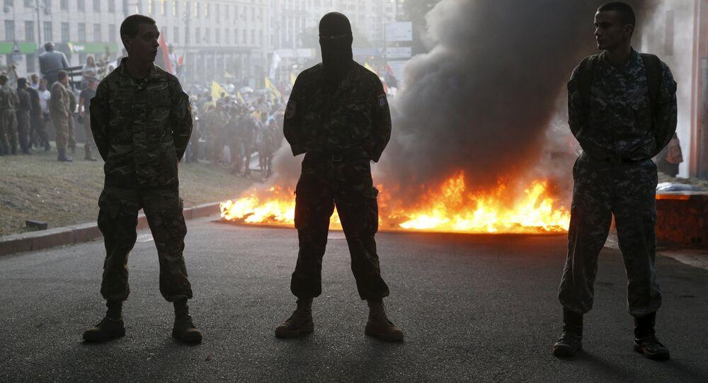 Membros do grupo radical Setor de Direita em Kiev