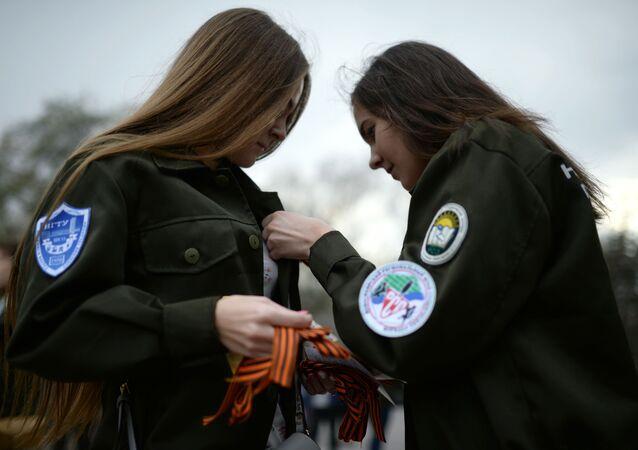 """Ação internacional comemorativa """"Fita de São Jorge"""" em cidades da Rússia"""