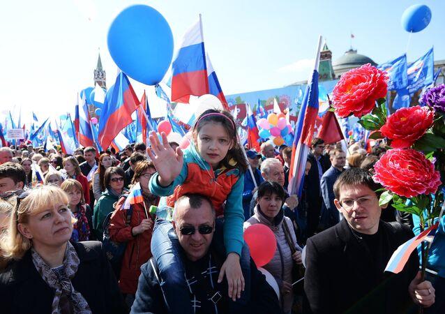 Desfile do Dia do Trabalhador na praça Vermelha, no centro de Moscou