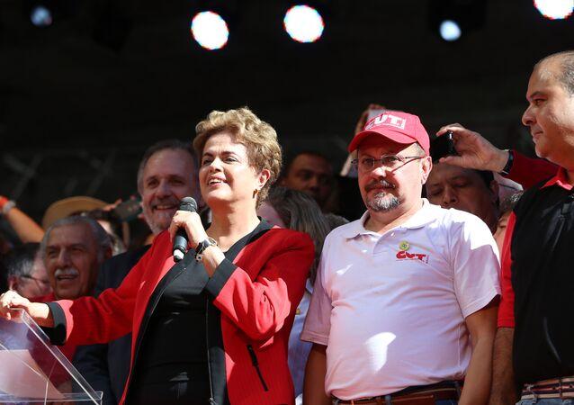 Presidenta Dilma Rousseff na comemoração de 1.º de Maio em São Paulo