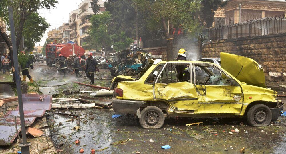 Bairro de Muhafaza, no norte de Aleppo, Síria