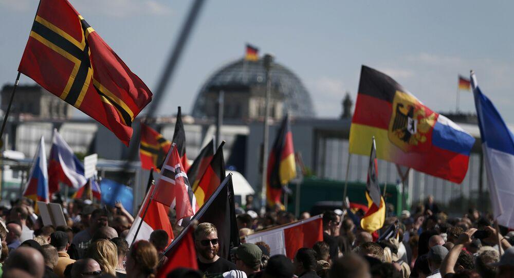 Manifestantes em Berlim em 7 de maio, 2016