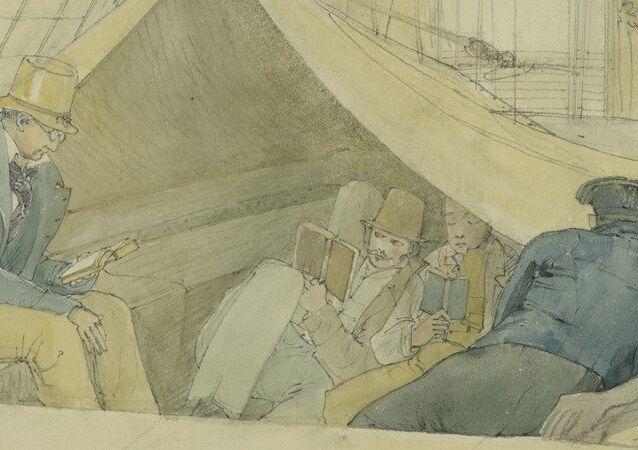 Aspecto tirado a bordo da fragata Áustria em sua viagem para o Rio de Janeiro em 9 de abril de 1817 vendo-se entre outros passageiros, Spix e Martius.