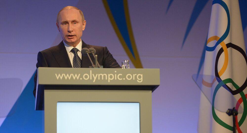 Presidente russo Vladimir Putin durante a recepção do presidente do Comitê Olímpico Internacional Thomas Bach para os líderes dos países-participantes dos Jogos Olímpicos de Inverno 2014 em Sochi, Rússia, 6 de fevereiro de 2014