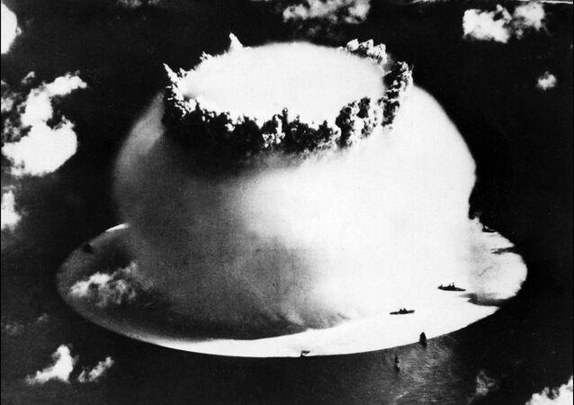 Explosão nuclear no Atol de Bikini (foto de arquivo)