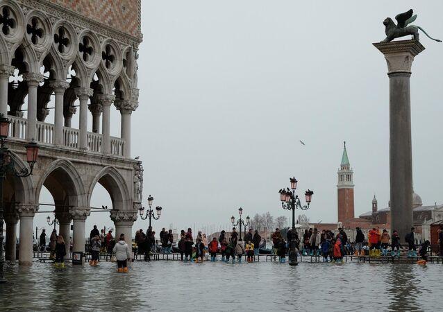 Praça de São Marcos, em Veneza, Itália,