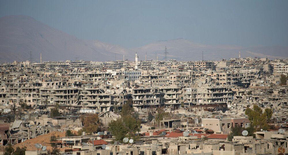 Subúrbio de Damasco que está sob o controle da Frente al-Nusra, Síria