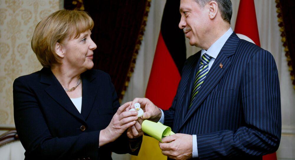 Chanceler da Alemanha, Angela Merkel e presidente turco Recep Tayyip Erdogan