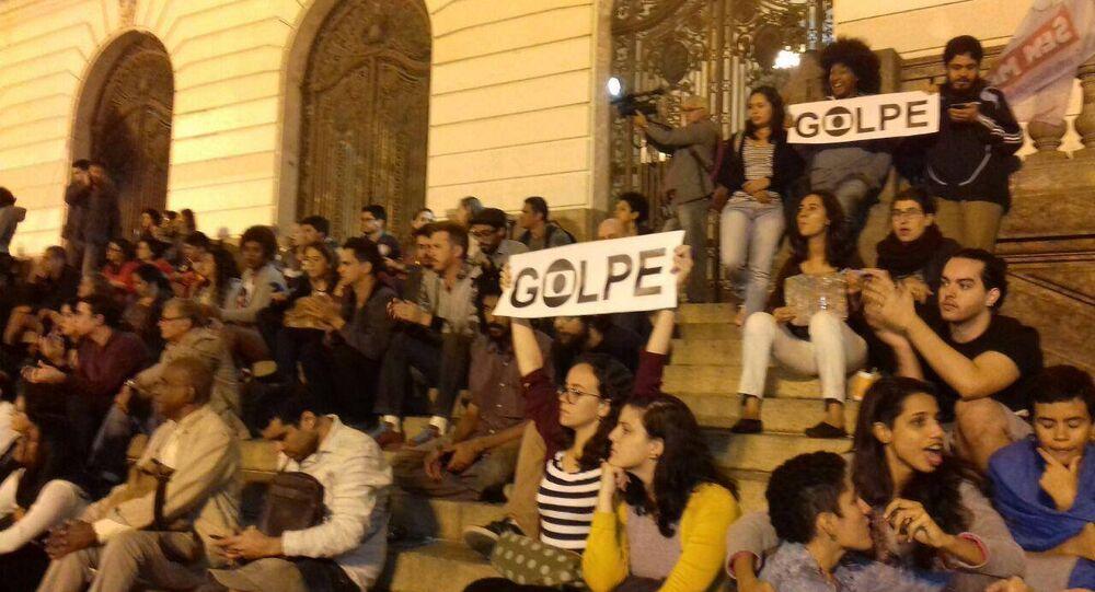 Protesto na Cinelândia contra governo do presidente interino Michel Temer