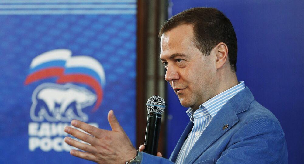 O primeiro-ministro russo Dmitry Medvedev na Crimeia