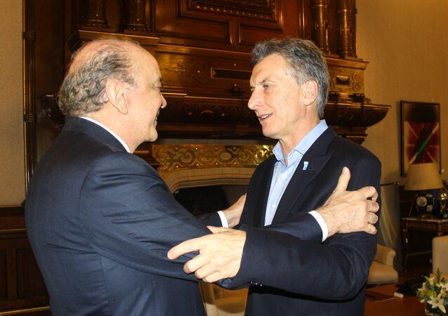 Ministro das Relações Exteriores, José Serra, e o presidente argentino Mauricio Macri