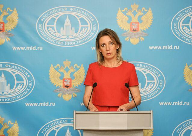 Representante oficial do Ministério das Relações Exteriores russo, Maria Zakharova, durante a entrevista coletiva semanal, Moscou, Rússia, 26 de maio de 2016