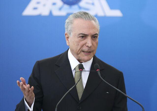 Michel Temer durante posse de diretoria do BNDES, Petrobras, Caixa Econômica e IPEA
