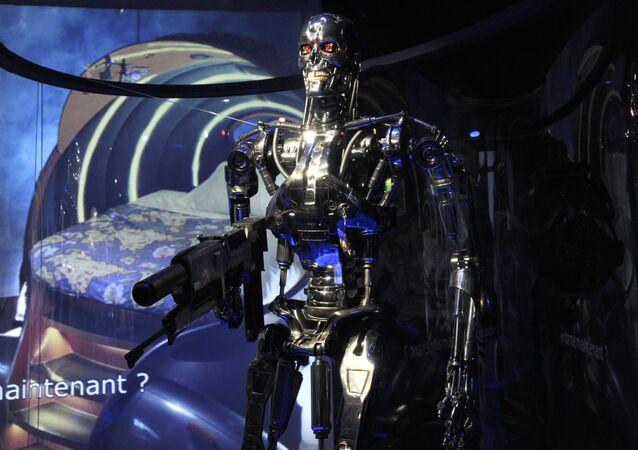 Uma foto, tirada em 29 de outubro de 2012, mostra uma reprodução do robô Exterminador