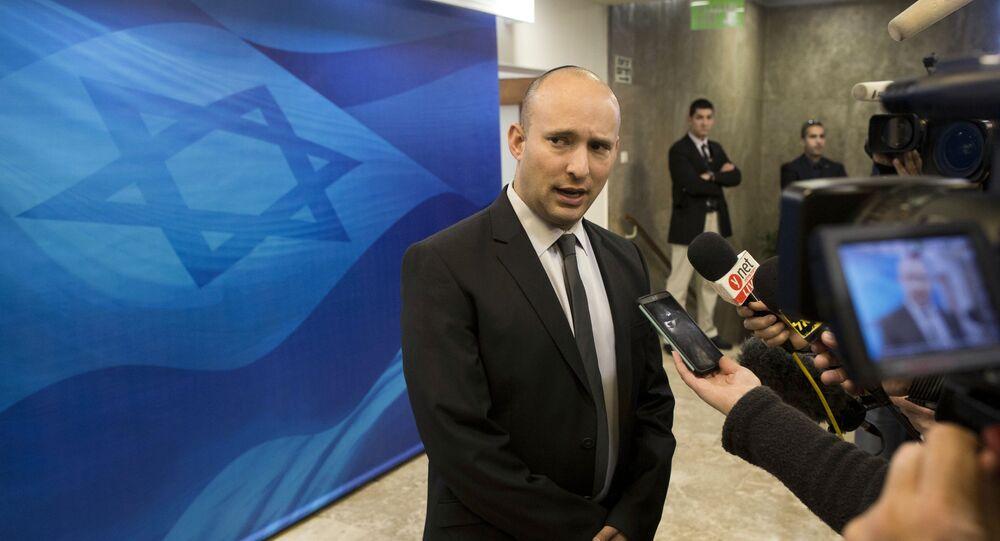 Naftali Bennett, líder do partido HaBayit HaYehudi Lar Judaico