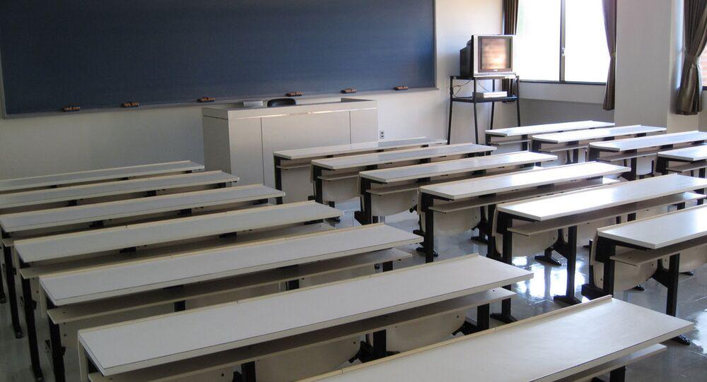Escolares dos estudantes da universidade no Japão
