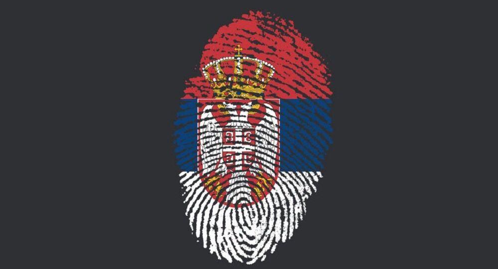 Ilustração com a bandeira da Sérvia